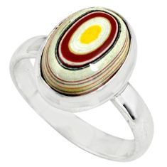4.82cts fordite detroit agate 925 silver solitaire ring jewelry size 7.5 p79225