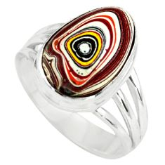 6.84cts fordite detroit agate 925 silver solitaire ring jewelry size 8.5 p79231