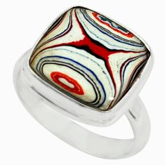 9.61cts fordite detroit agate 925 silver solitaire ring jewelry size 8 p79235