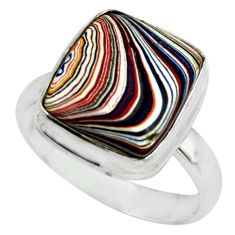 5.34cts fordite detroit agate 925 silver solitaire ring jewelry size 7.5 p79255