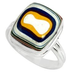 5.36cts fordite detroit agate 925 silver solitaire ring jewelry size 7 p79266
