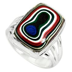 11.66cts fordite detroit agate 925 silver solitaire ring jewelry size 8.5 p79279