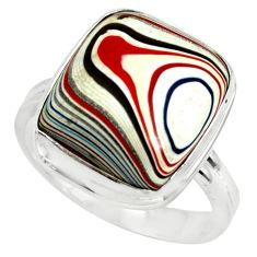 9.05cts fordite detroit agate 925 silver solitaire ring jewelry size 8 p79287