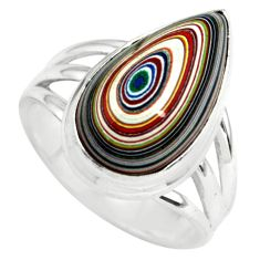7.04cts fordite detroit agate 925 silver solitaire ring jewelry size 6.5 p79292