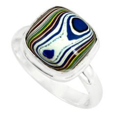 5.23cts fordite detroit agate 925 silver solitaire ring jewelry size 7.5 p79297