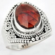 GALLANT NATURAL RED RHODOLITE 925 STERLING SILVER RING JEWELRY SIZE 7 H43574