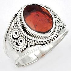 GLOWING NATURAL RED RHODOLITE 925 STERLING SILVER DESIGNER RING SIZE 9.5 H43571