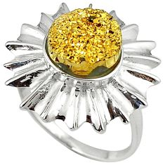 Golden druzy 925 sterling silver flower ring jewelry size 9 h89606