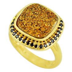 6.96cts golden druzy topaz 925 sterling silver 14k gold mens ring size 8 c3972