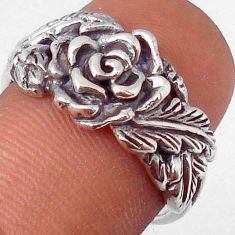 5.27gms GORGEOUS 925 SILVER ROSE FLOWER WITH LEAF RING JEWELRY SIZE 9.5 H9520