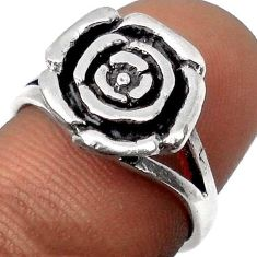 5.46gms GORGEOUS 925 STERLING SILVER ROSE FLOWER RING JEWELRY SIZE 7 H9513
