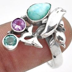 GORGEOUS BLUE LARIMAR AMETHYST TOPAZ 925 SILVER DOLPHIN RING SIZE 8.5 G89781