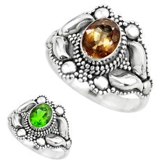 2.01cts green alexandrite (lab) 925 silver solitaire ring jewelry size 8 p61874