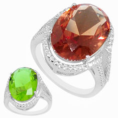 11.89cts green alexandrite (lab) white topaz 925 silver ring size 6 c1134