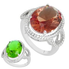 12.71cts green alexandrite (lab) white topaz 925 silver ring size 8 c1140