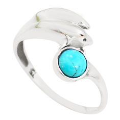 0.99cts green arizona mohave turquoise 925 silver dolphin ring size 7 p39198