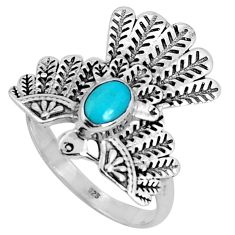 0.97cts green arizona mohave turquoise 925 silver solitaire ring size 7 p34309