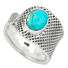 3.14cts green arizona mohave turquoise 925 silver solitaire ring size 7.5 p61754