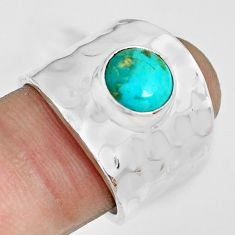 3.29cts green arizona mohave turquoise 925 silver solitaire ring size 7 p70106