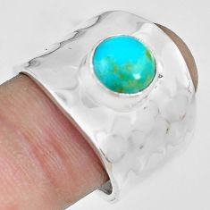 3.16cts green arizona mohave turquoise 925 silver solitaire ring size 8 p70107