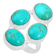 13.07cts green arizona mohave turquoise 925 sterling silver ring size 6.5 p32821