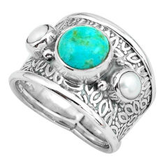 4.70cts green arizona mohave turquoise pearl 925 silver ring size 6.5 p68491
