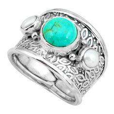 4.70cts green arizona mohave turquoise pearl 925 silver ring size 7 p68492