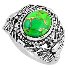 4.21cts green copper turquoise 925 silver solitaire ring jewelry size 7 p61202