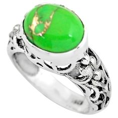 5.31cts green copper turquoise 925 silver solitaire ring jewelry size 8 p61236