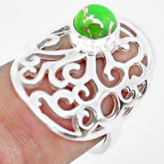 1.11cts green copper turquoise 925 silver solitaire ring jewelry size 6.5 p61767