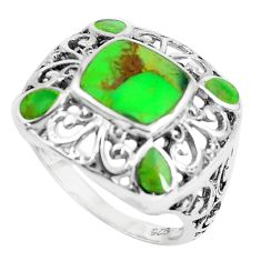 6.33cts green copper turquoise 925 sterling silver ring jewelry size 9 c1820