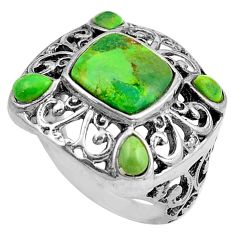 4.07cts green copper turquoise 925 sterling silver ring jewelry size 6.5 c4816