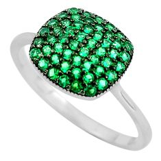 2.49cts green emerald (lab) 925 sterling silver ring jewelry size 6 c3155