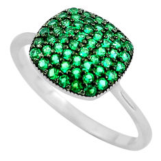 2.73cts green emerald (lab) round 925 sterling silver ring jewelry size 7 c3157