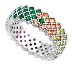 1.08cts green emerald (lab) ruby (lab) 925 sterling silver ring size 6.5 c2616