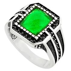 4.21cts green emerald (lab) topaz 925 sterling silver mens ring size 10 c4005
