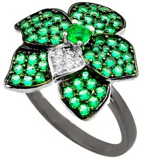 2.58cts green emerald (lab) topaz 925 sterling silver ring jewelry size 6 c4127