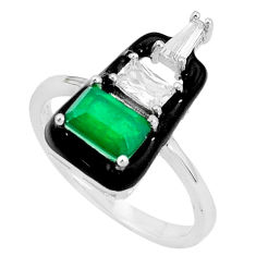 3.40cts green emerald (lab) topaz enamel 925 sterling silver ring size 8 c2605