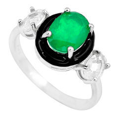 5.38cts green emerald (lab) topaz enamel 925 sterling silver ring size 5.5 c2607