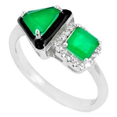 5.17cts green emerald (lab) topaz enamel 925 sterling silver ring size 8 c2638