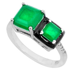 5.54cts green emerald (lab) topaz enamel 925 sterling silver ring size 6 c2642