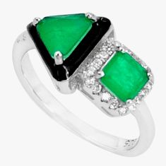 6.38cts green emerald (lab) topaz enamel 925 sterling silver ring size 7 c2651