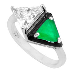 7.50cts green emerald (lab) topaz enamel 925 sterling silver ring size 7 c2662