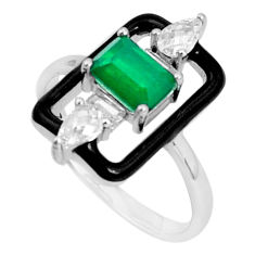 2.81cts green emerald (lab) topaz enamel 925 sterling silver ring size 6.5 c2675