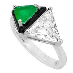 6.72cts green emerald (lab) topaz enamel 925 sterling silver ring size 8 c2695