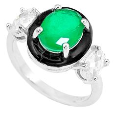 6.03cts green emerald (lab) topaz enamel 925 sterling silver ring size 6 c2698
