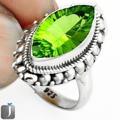 7.11cts GREEN PARROT QUARTZ 925 STERLING SILVER RING JEWELRY SIZE 7.5 F14825