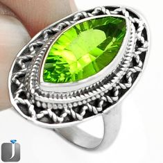 8.12cts GREEN PARROT QUARTZ 925 STERLING SILVER RING JEWELRY SIZE 7 F14828