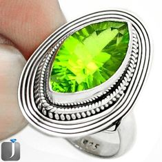 8.31cts GREEN PARROT QUARTZ 925 STERLING SILVER RING JEWELRY SIZE 7 F14830