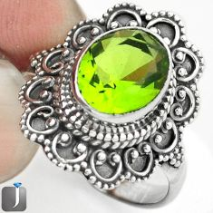 3.09cts GREEN PARROT QUARTZ 925 STERLING SILVER RING JEWELRY SIZE 8.5 F15161
